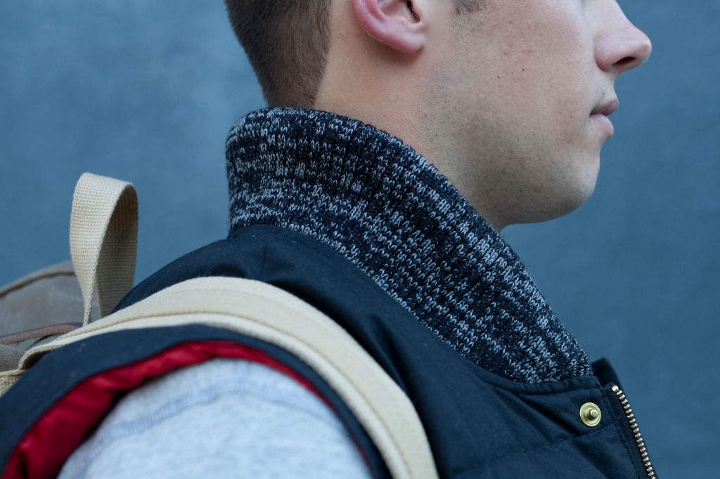 Waxed Vest Knit Collar Detail