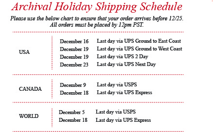 AC Holiday Shipping Schedule 2014