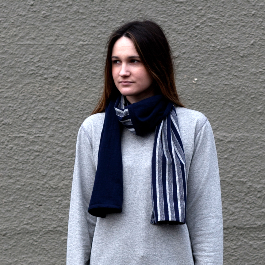 Cotton Scarf Navy Stripe
